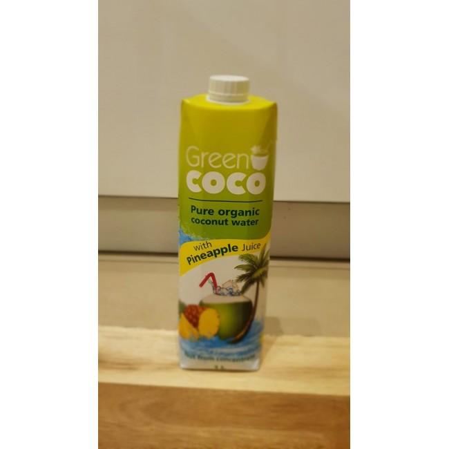 GREEN COCO מארז 5 קרטוני 1 ליטר מי קוקוס אורגני עם מיץ אננס -משלוח עד הבית חינם