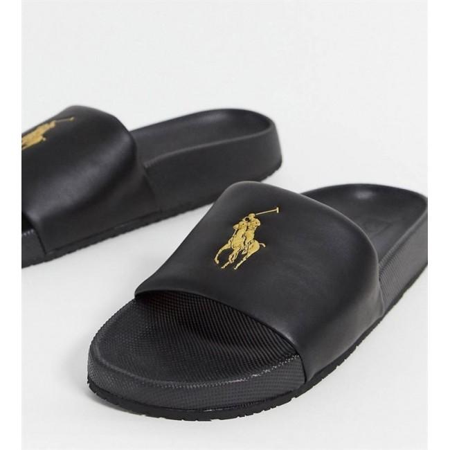 כפכפי גברים Polo Ralph Lauren בצבע שחור עם לוגו זהב