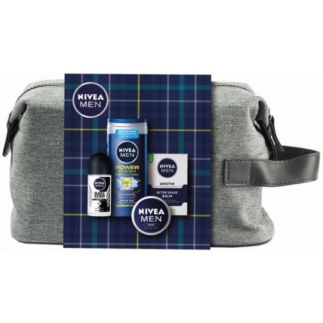 מארז טיפוח מושלם NIVEA לגבר תיק רחצה מפנק המכיל 4 מוצרים אהובים-משלוח חינם