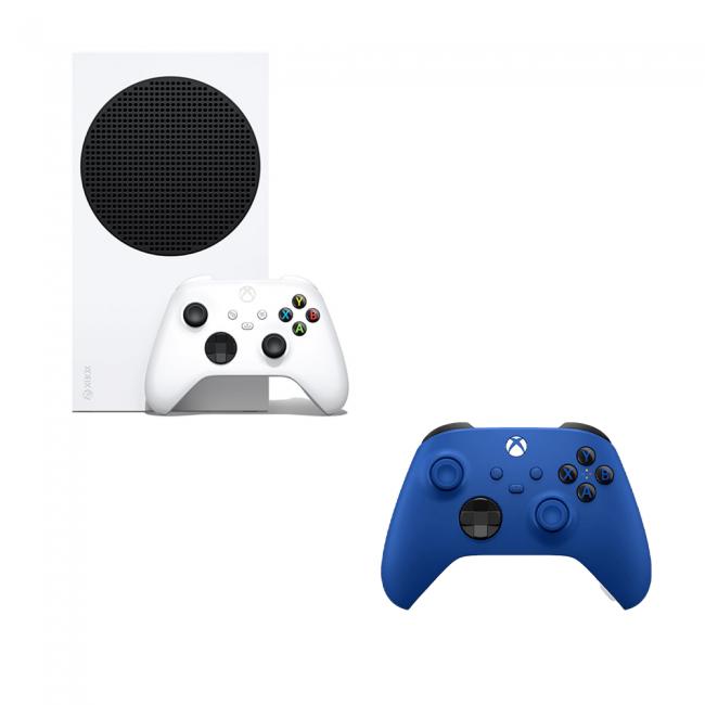 קונסולת XBOX גיימינג משולבת קונסולה ובקר בצבעי כחול לבן משלוח חינם