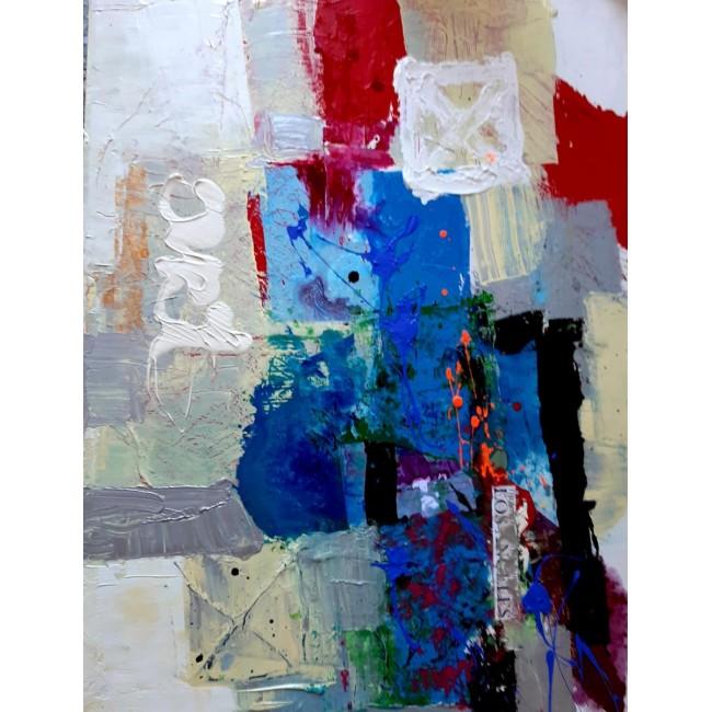 ציור אמנות אבסטרקט של האומן משה ליידר-קולאז',צבע זכוכית ,אקרילית מידה 90/130 ס''מ על בד קנווס משלוח חינם