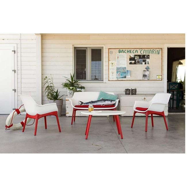 מערכת ישיבה למרפסת ולגינה בעיצוב רטרו, הכוללת 2 כורסאות יחיד , ספה זוגית ושולחן אירוח תוצרת איטליה בצבעים לבחירה  משלוח חינם
