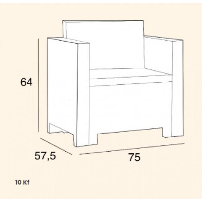 מערכת ישיבה למרפסת ולגינה בגימור ראטן, הכוללת 2 כורסאות יחיד  ספה זוגית ושולחן אירוח תוצרת איטליה משלוח חינם