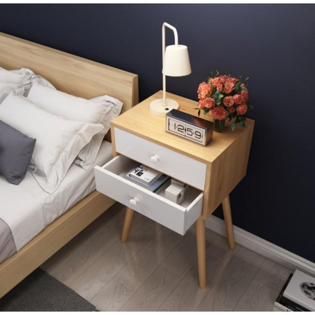 שידת לילה מעוצבת בסגנון נורדי כוללת זוג מגירות דגם BOSTON - משלוח חינם