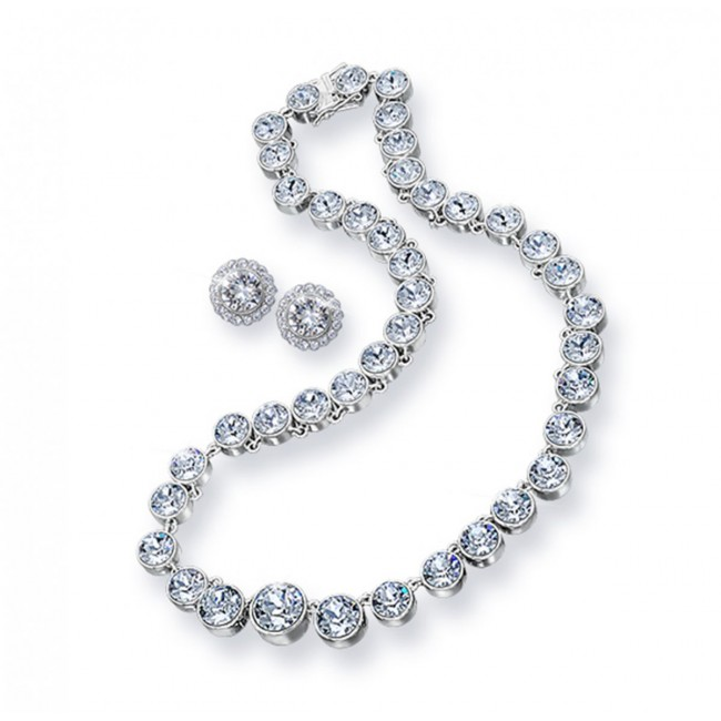 סט תכשיטים בשיבוץ אבני סברובסקי הכולל שרשרת ועגילים ציפוי כסף 925 משלוח חינם