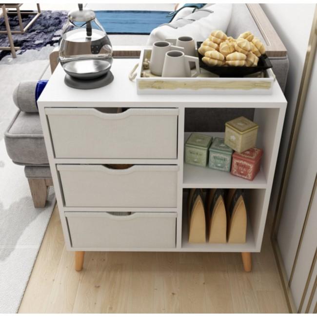 ארונית מעוצבת בסגנון נורדי בעלת שני תאים ושלוש מגירות בד דגם ARI - משלוח חינם