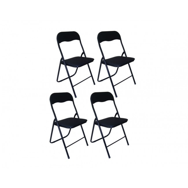 4 כסאות מתקפלים מסקאי מרופד בצבע שחור   משלוח חינם