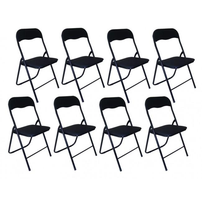 8 כסאות מתקפלים מושב סקאי מרופד בצבע שחור  משלוח חינם