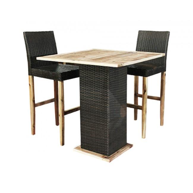 סט שולחן וזוג כיסאות בר לגינה עשוי מראטן בשילוב עץ חום CAMPTOWN משלוח חינם