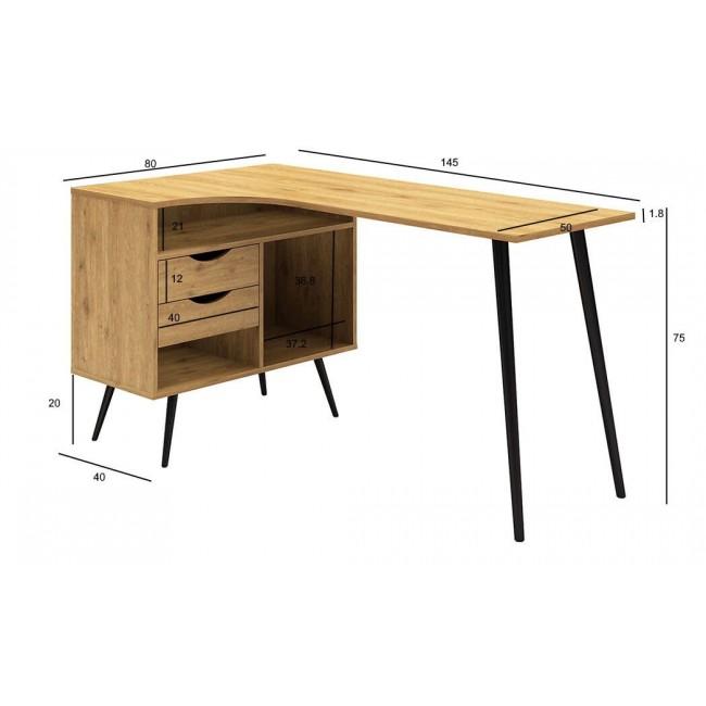 שולחן עבודה פינתי, שולחן כתיבה, דגם 'פסיפלורה', 2 מגירות אחסון גדולות בגוון אלון טבעי, רגלי מתכת מעוצבות בגוון שחור משלוח חינם