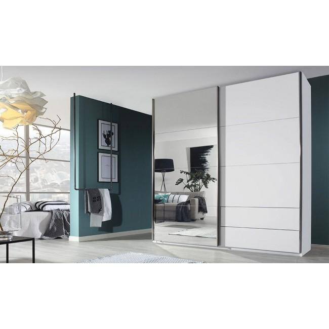 מבצע ארון קיר לבן, 2 מידות לבחירה, כולל דלתות צפות, מגירות חיצוניות, מדפים, מוטות תלייה, מראה גדולה
