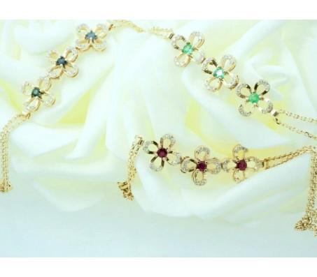 צמיד פרחי יהלומים ואבני חן