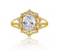 טבעת מעוצבת בסגנון וינטאג' זרקון שקוף ויהלומים