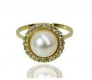 טבעת זהב מעוצבת משובצת פנינה ויהלומים 0.25 קראט ב- 14K