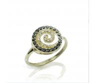 טבעת ספירלה יהלומים בזהב 14K