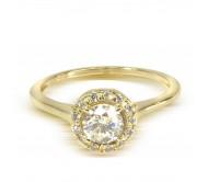 """טבעת זהב 14K """"היילו"""" משובצת יהלומים 0.55CT"""