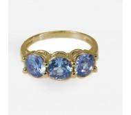 טבעת זהב 14K משובצת אבן חן בלו טופז ויהלומים