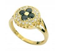 טבעת זהב צהוב 14K משובץ יהלומים שחורים 0.40CT ויהלומים 0.35CT