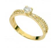 טבעת זרועות מתפצלות זהב צהוב 14K משובצת יהלומים 0.60CT