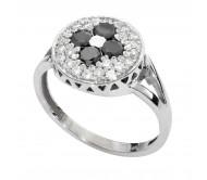 טבעת זהב לבן 14K משובץ יהלומים שחורים 0.40CT ויהלומים לבנים 0.35CT