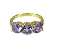 """טבעת זהב 14K """"שלוש אבנים"""" משובצת אמטיסט ויהלומים 0.07CT"""