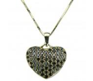 Подвеска в форме сердца с черными бриллиантами