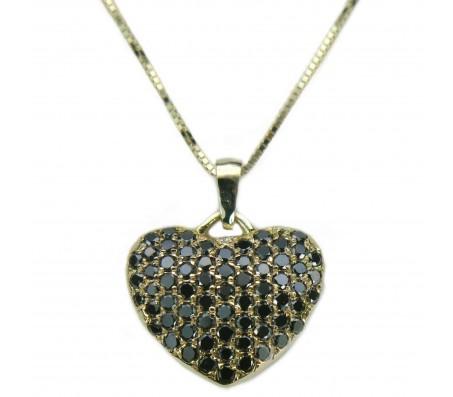 שרשרת ותליון לב פאווה משובץ יהלומים שחורים 0.85CT