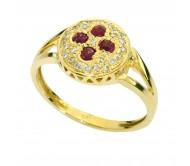 טבעת זהב צהוב 14K משובץ רובי 0.40CT ויהלומים 0.35CT