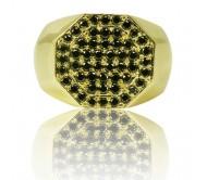 טבעת זהב 14K לגבר משובצת יהלומים שחורים 0.85CT