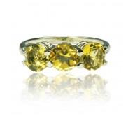 """טבעת זהב 14K """"שלוש אבנים"""" משובצת סיטרין ויהלומים 0.07CT"""