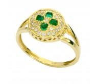 טבעת זהב צהוב 14K משובץ אמרלד 0.40CT ויהלומים 0.35CT