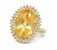 טבעת זהב 14K יהלומים 0.30CT משובצת אבן סיטרין.