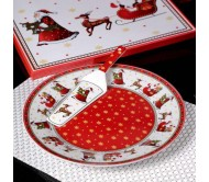 Новогодняя сервировочная тарелка с ложкой для торта