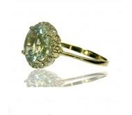 טבעת אמטיסט ירוקה ויהלומים בזהב  K14