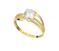 טבעת זרקונים בזהב צהוב 14 קאראט