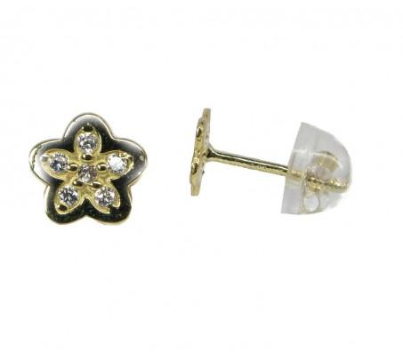 Детские сережки цветочки с камнями цирконием- желтое золото 14 карат