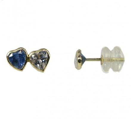 """Серьги """"Сердечко"""" с бриллиантом для девочек, обработка лазерная - желтое золото 14К."""