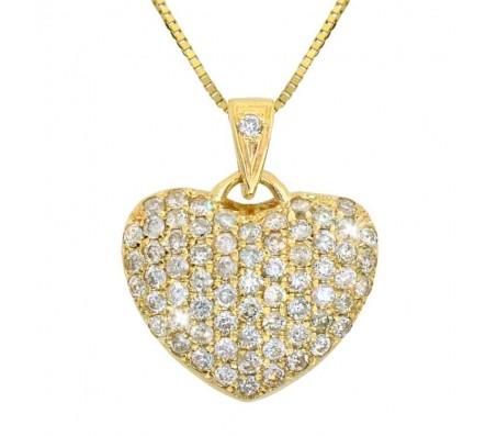 Цепочка с кулоном в виде сердца украешнным алмазами Faoh, золото 14k