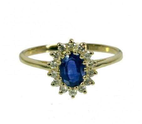 Кольцо с сапфиром и бриллиантами, Модель Диана
