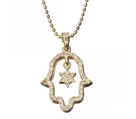Цепочка с кулоном в виде хамсы и магендавида из золота 14 карат, с россыпью бриллиантов 0.21 карата