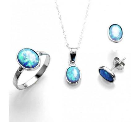 Комплект ювелирных украшений из чистого серебра 925 пробы с опалом: цепочка, серьги и кольцо