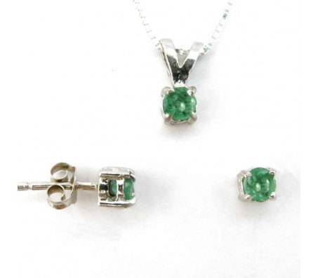 Комплект ювелирных украшений из чистого серебра 925 пробы с изумрудами: цепочка с кулоном и серьги