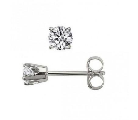 Серьги с бриллиантами-солитерами из белого золота 14 карат. Бриллианты общим весом 0.24 карата (по 0.12 карата в каждой серьге).