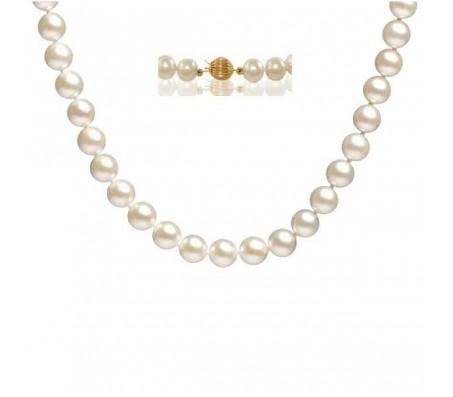 Ожерелье из натурального жемчуга длиной 48 см с застежкой из золотых шариков 14 карат.