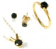 Комплект ювелирных украшений с черными бриллиантами-солитерами: цепочка, кольцо, серьги. Чистое серебро с покрытием из желтого золота 24 карата