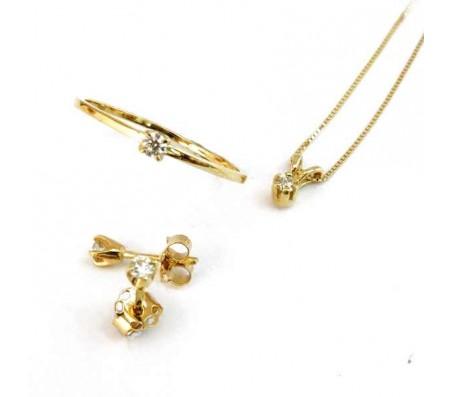 Классический комплект ювелирных украшений из золота 14 карат с бриллиантами-солитерами