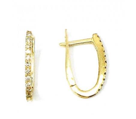 Серьги-кольца из золота 14 карат с бриллиантами