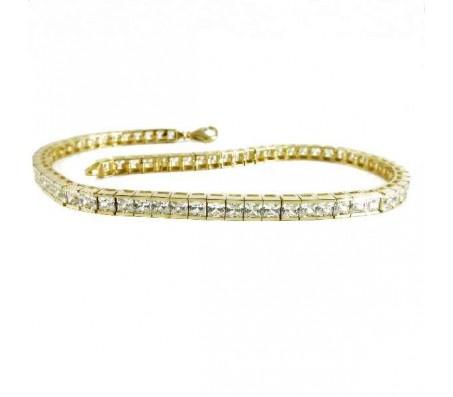 Теннисный браслет из желтого золота 14 карат с кубическими циркониями