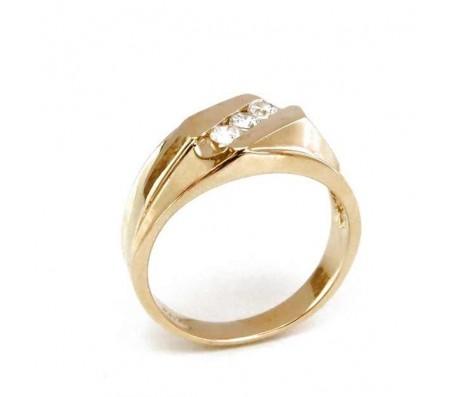 טבעת זרקונים לגבר בזהב צהוב 14K