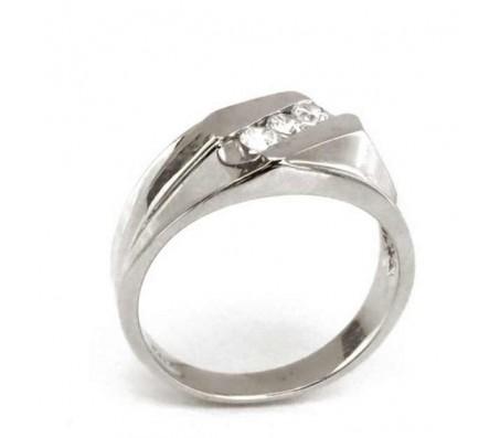 Мужское кольцо из белого золота 14 карат с циркониями